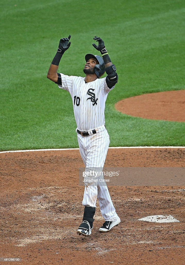 Alexei Ramirez #10 of the Chicago White Sox celebrates his solo home run in the 7th inning against the Kansas City Royals at U.S. Cellular Field on July 18, 2015 in Chicago, Illinois. The Royals defeated the White Sox 7-6 in 13 innings.