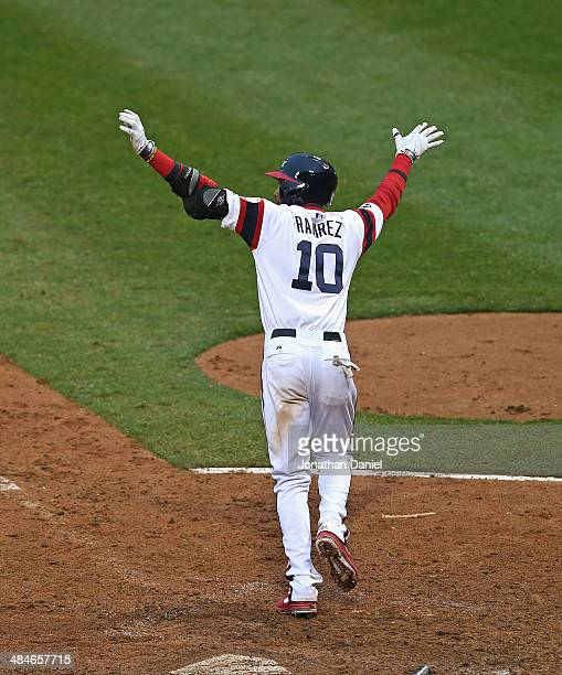Alexei Ramirez of the Chicago White Sox celebrates hitting a tworun walkoff home run in the bottom of the 9th inning to defeat the Cleveland Indians...