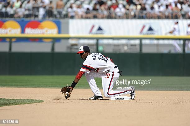 Alexei Ramirez of the Chicago White Sox fields a throw to second base during the game against the Kansas City Royals at US Cellular Field in Chicago...