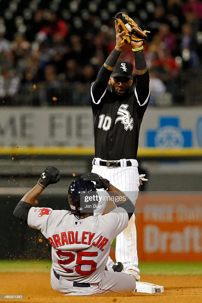Alexei Ramirez #10 of the Chicago White Sox forces out Jackie Bradley Jr. #25 of the Boston Red Sox during the fourth inning at U.S. Cellular Field on August 26, 2015 in Chicago, Illinois.