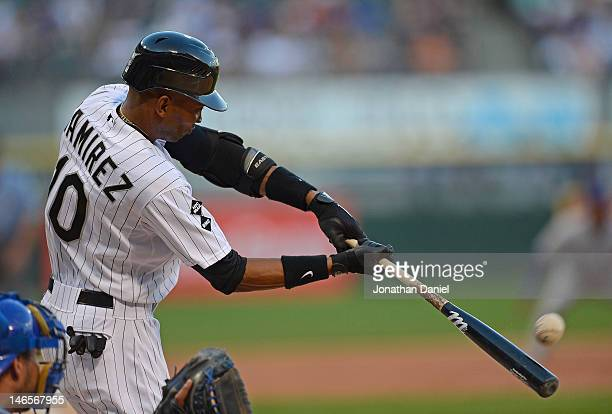 Alexei Ramirez of the Chicago White Sox hits a runscoring double in the 2nd inning against the Chicago Cubs at US Cellular Field on June 19 2012 in...