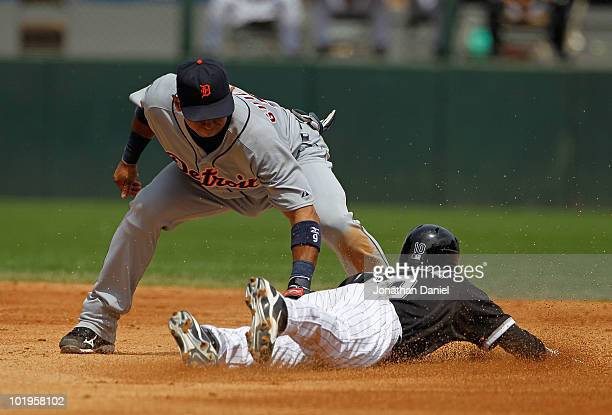 Alexei Ramirez of the Chicago White Sox is tagged out trying to steal second base by Carlos Guillen of the Detroit Tigers in the 5th inning at US...