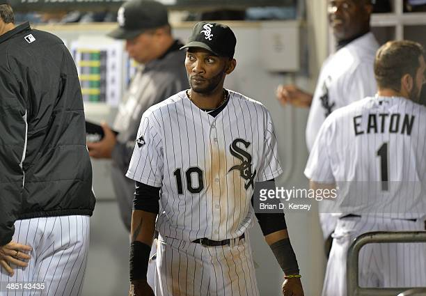 Alexei Ramirez of the Chicago White Sox stands in the dugout during the eighth inning against the Cleveland Indians at US Cellular Field on April 11...