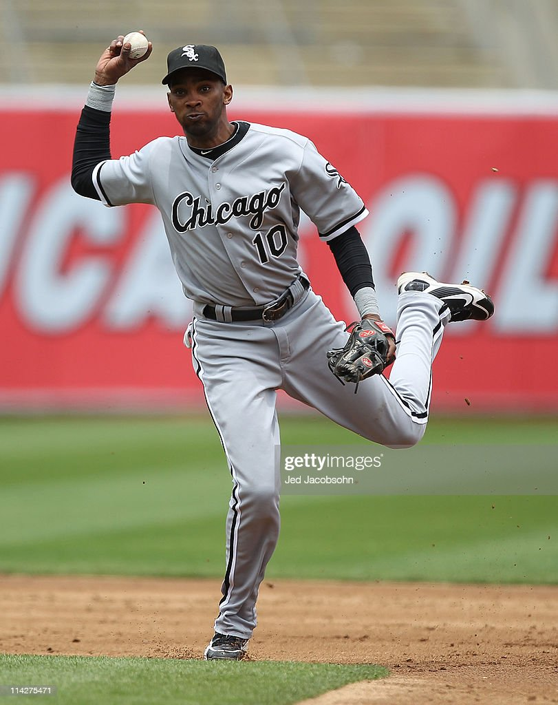 Alexei Ramirez #10 of the Chicago White Sox throws to first against the Oakland Athletics during a Major League Baseball game at the Oakland-Alameda County Coliseum on May 14, 2011 in Oakland, California.