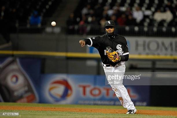 Alexei Ramirez of the Chicago White Sox throws to first base for the out during the fourth inning against the Kansas City Royals on April 23 2015 at...