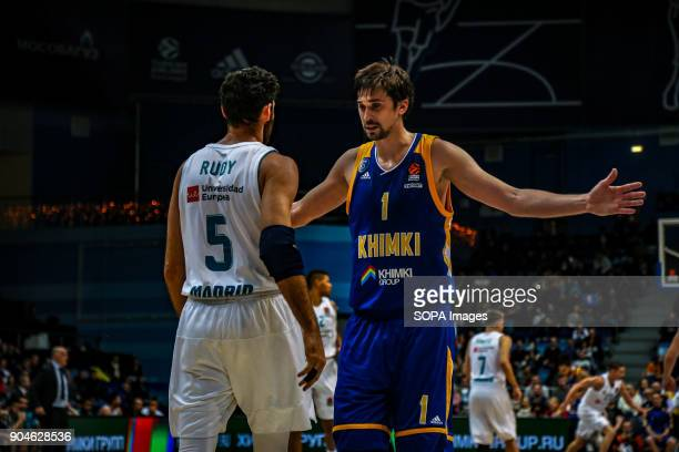 Alexei Shved #1 of Moscow Khimki competes against Rudy Fernandez #5 of Real Madrid during the 2017/2018 Turkish Airlines EuroLeague Regular Season...