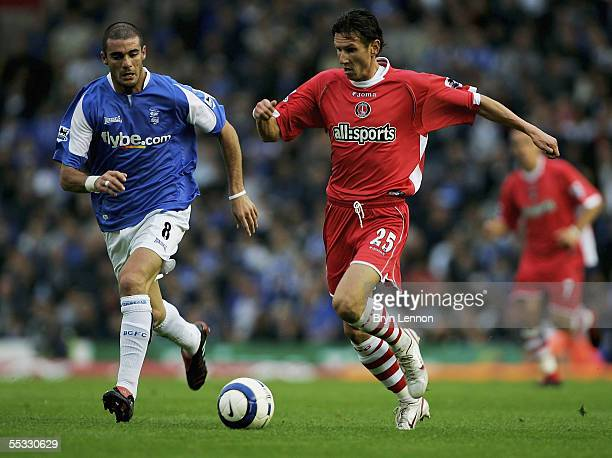 Alexei Smertin of Charlton Athletic is challenged by Walter Pandiani of Birmingham City during the Barclays Premiership match between Birmingham City...