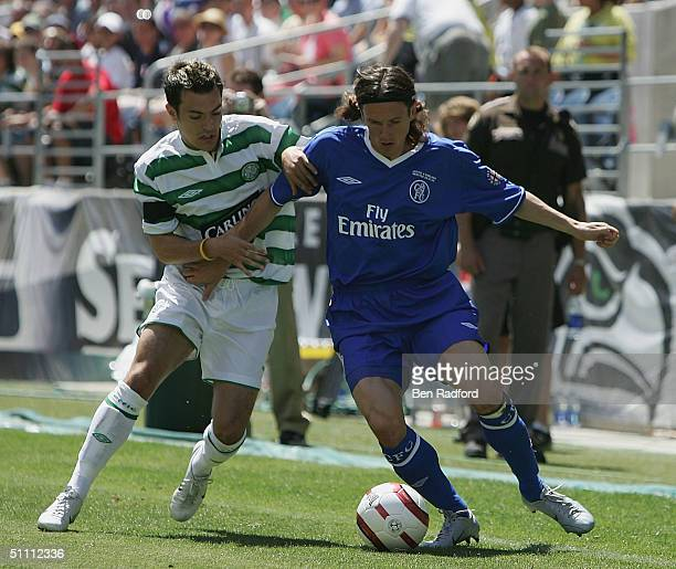 Alexei Smertin of Chelsea and Ross Wallace of Celtic in action during the Champion's World Series match between Celtic and Chelsea at Qwest Field on...