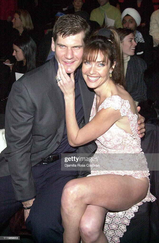 Alexei Yashin and Carol Alt during Mercedes Benz Fashion Week Fall 2003 Collections - Luca Luca - Front Row at Bryant Park in New York City, New York, United States.