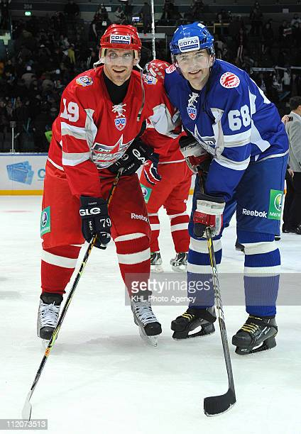 Alexei Yashin captain of the Yashin team and Jaromir Jagr captain of the Jagr team are seen after the KHL All Star Game on February 05 2011 at the...