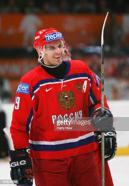 Alexei Yashin of Russia celebrates a goal in the second period against Sweden in the IIHF World Men's Championships bronze medal game at Wiener...