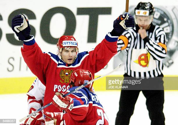Alexei Yashin of Russia celebrates his first goal to 1:0 against Denmark during the group C preliminary round in the Ice Hockey World Championship...