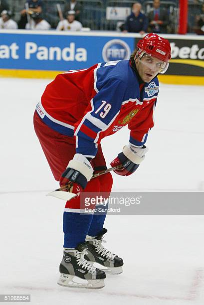 Alexei Yashin of Team Russia looks on during a break from the action against Team Germany in a World Cup exhibition game at Koln Arena on August 22...