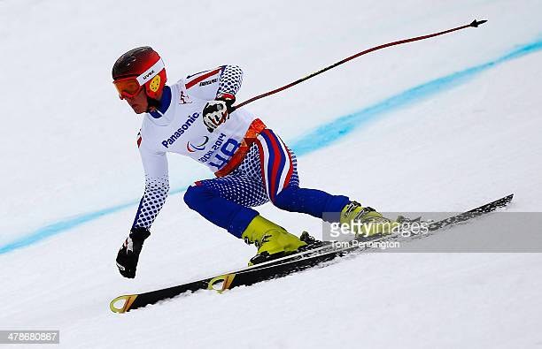 Alexey Bugaev of Russia competes in the Men's Super Combined Standing Super G during day seven of the Sochi 2014 Paralympic Winter Games at Rosa...