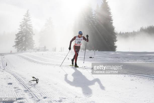 Alexey Chervotkin of Russia competes the Men's 15 km classic during the cross country FIS World cup Tour de Ski event on December 31, 2017 in...