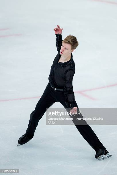 Alexey Erokhov of Russia competes in the Junior Men's Free Skating during day three of the ISU Junior Grand Prix of Figure Skating at Minsk Arena on...
