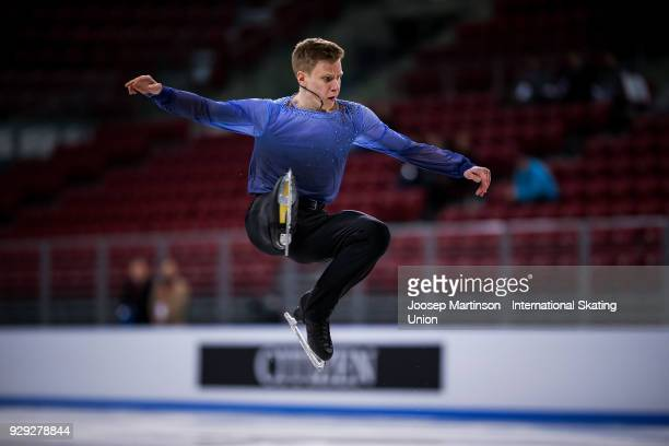 Alexey Erokhov of Russia competes in the Junior Men's Short Program during the World Junior Figure Skating Championships at Arena Armeec on March 8...