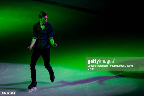 Alexey Erokhov of Russia performs in the Gala Exhibition during day three of the ISU Junior Grand Prix of Figure Skating at Minsk Arena on September...
