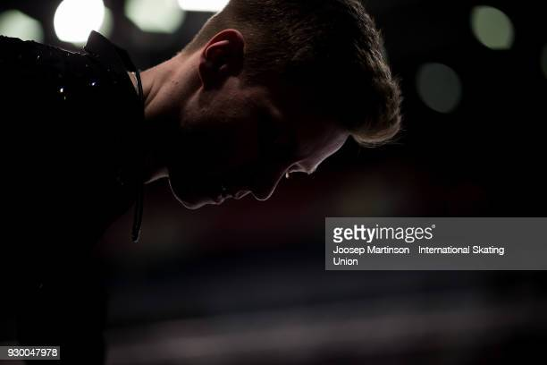 Alexey Erokhov of Russia prepares in the Junior Men's Free Skating during the World Junior Figure Skating Championships at Arena Armeec on March 10...