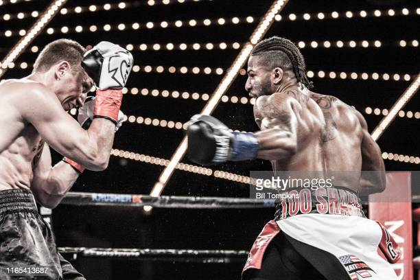 Alexey Evchenko defeats Khiary Gray by TD in the 5th round during their Super Welterweight fight at Madison Square Garden on March 3, 2018 in New...