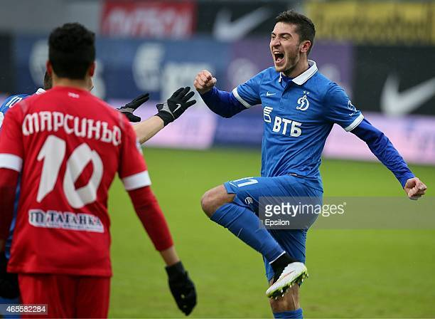 Alexey Ionov of FC Dinamo Moscow selebrates his goal during the Russian Premier League match between FC Dinamo Moscow and FC Ufa Ufa at the Arena...
