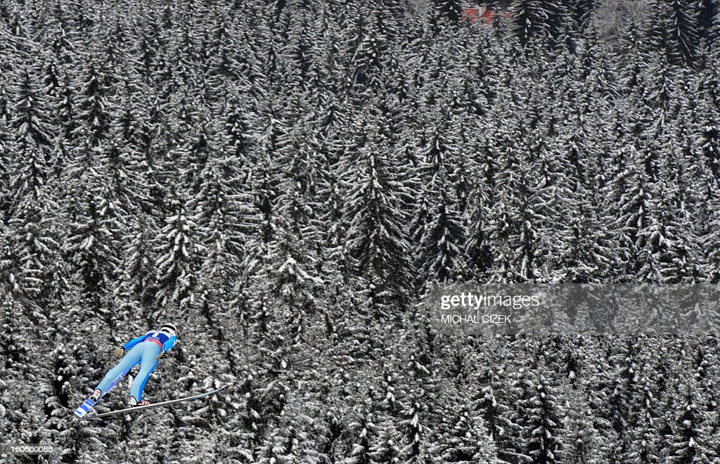 Alexey Korolev of Kazakhstan soars through the air during the second competition of the Ski Flying event of the FIS Ski Jumping World Cup in Harrachov on February 03, 2013.Gregor Schlierenzauer of Austria won this event ahead Jan Matura of the Czech Repuplic (2nd) and Jurij Tepes of Slovenia (3rd).