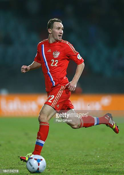 Alexey Kozlov of Russia in action during the FIFA 2014 World Cup Qualifier Group F match between Luxembourg and Russia at the Josy Barthel Stadium on...