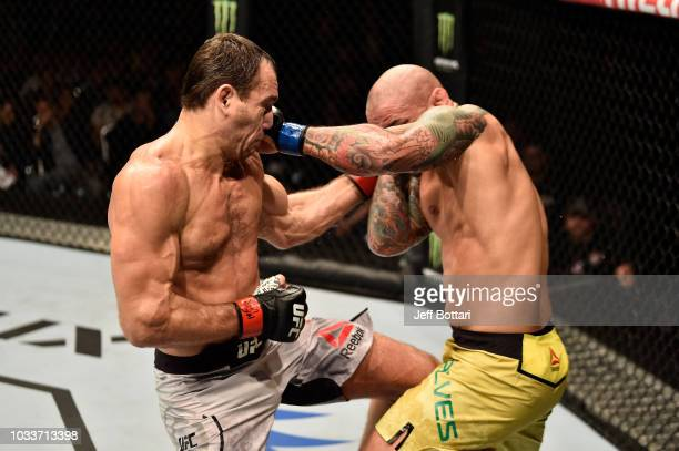 Alexey Kunchenko of Russia and Thiago Alves of Brazil exchange punches in their welterweight bout during the UFC Fight Night event at Olimpiysky...