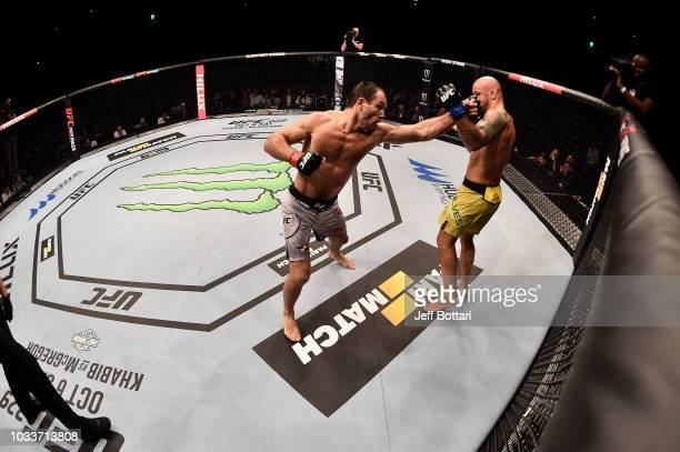 Alexey Kunchenko of Russia punches Thiago Alves of Brazil in their welterweight bout during the UFC Fight Night event at Olimpiysky Arena on...