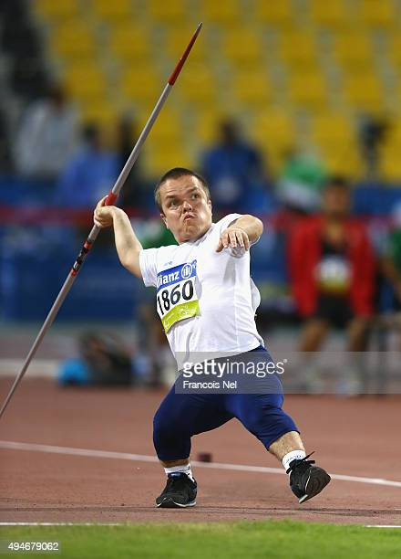 Alexey Lukutin of Kazakhstan competes in the men's javelin F41 final during the Evening Session on Day Seven of the IPC Athletics World Championships...