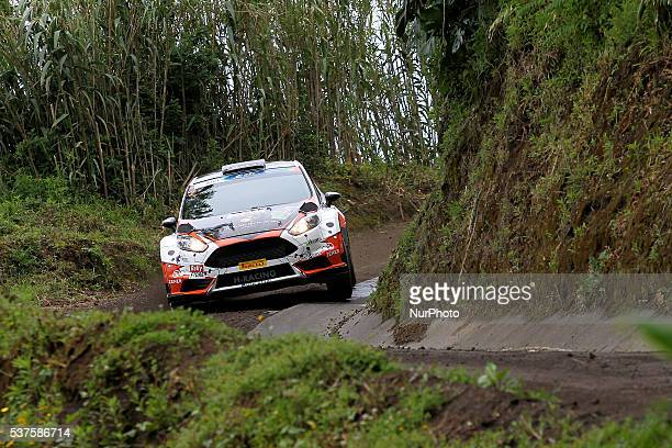 Alexey Lukyanuk and Alexey Arnautov in Ford Fiesta R5 of Alexey Lukyanuk during the shakedow of the FIA ERC Azores Airlines Rallye 2016 in Ponta...