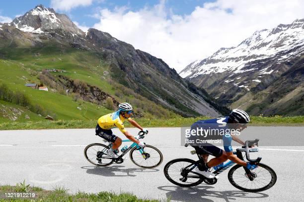 Alexey Lutsenko of Kazahkstan and Team Astana – Premier Tech yellow leader jersey & Carlos Verona Quintanilla of Spain and Movistar Team during the...