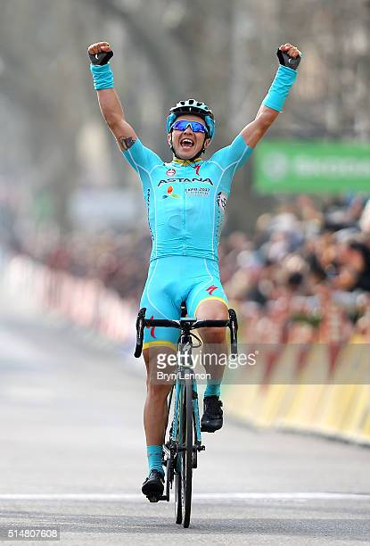 Alexey Lutsenko of Kazakhstan and the Astana Pro Team celebrates winning Stage 5 of the 2016 Paris-Nice, a 198km road stage from...