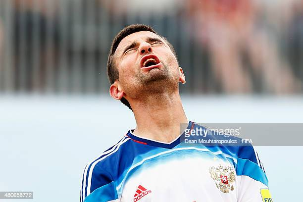 Alexey Makarov of Russia reacts to a missed chance on goal during the Group D FIFA Beach Soccer World Cup match between Russia and Tahiti held at...