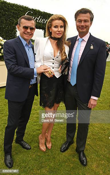 Alexey Mauergauz Alexandra Shishlova and Managing Director of Cartier UK Laurent Feniou attend The Cartier Queen's Cup Final at Guards Polo Club on...