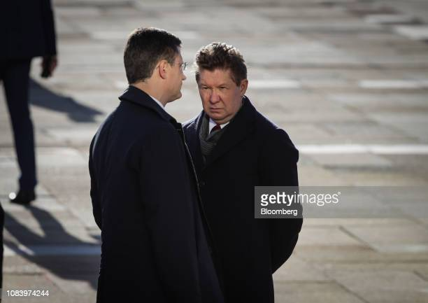 Alexey Miller chief executive officer of Gazprom PJSC right and Alexander Novak Russia's energy minister wait for the arrival of Vladimir Putin...