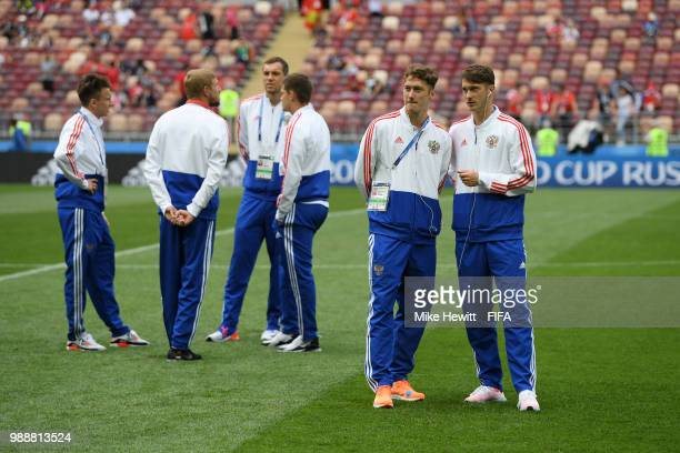 Alexey Miranchuk and Anton Miranchuk of Russia look on prior to the 2018 FIFA World Cup Russia Round of 16 match between Spain and Russia at Luzhniki...