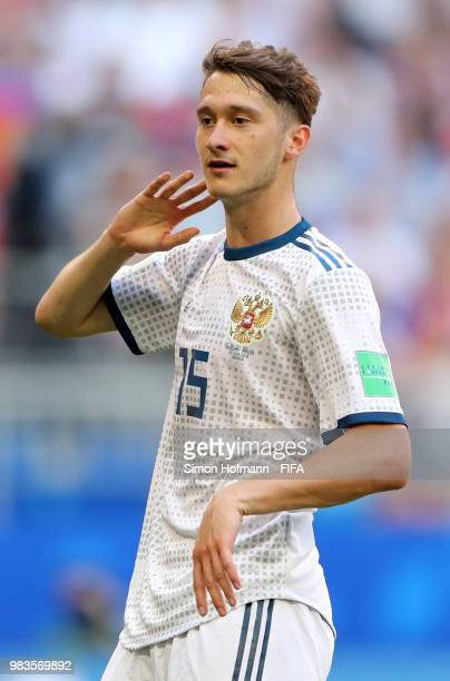 Alexey Miranchuk of Russia looks on during the 2018 FIFA World Cup Russia group A match between Uruguay and Russia at Samara Arena on June 25 2018 in...