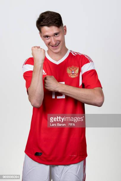 Alexey Miranchuk of Russia poses for a portrait during the official FIFA World Cup 2018 portrait session at Federal Sports Centre Novogorsk on June 8...