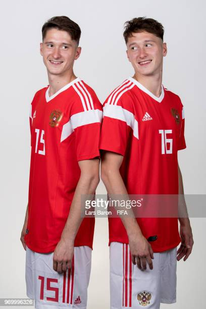 Alexey Miranchuk of Russia poses with his twin brother Anton Miranchuk of Russia for a portrait during the official FIFA World Cup 2018 portrait...