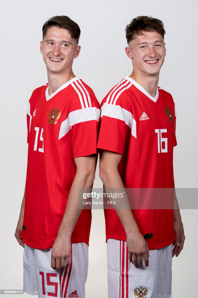 Alexey Miranchuk of Russia (L) poses with his twin brother Anton Miranchuk of Russia (R) for a portrait during the official FIFA World Cup 2018 portrait session at Federal Sports Centre Novogorsk on June 8, 2018 in Moscow, Russia.