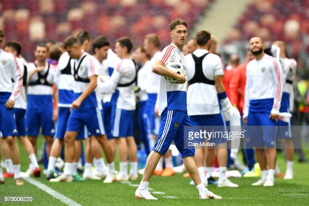 Alexey Miranchuk of Russia takes part during a Russia training session ahead of the 2018 FIFA World Cup opening match against Saudia Arabia at...