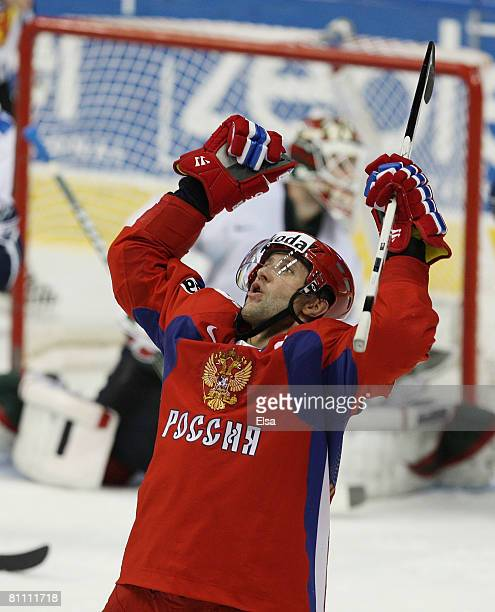 Alexey Morozov of Russia celebrates his goal in the third period against Finland during the Semifinal round of the International Ice Hockey...