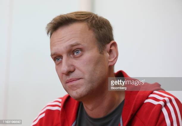 Alexey Navalny, Russian opposition leader, attends a hearing at the Simonovsky District Court in Moscow, Russia, on Thursday, Aug. 22, 2019. Navalny...