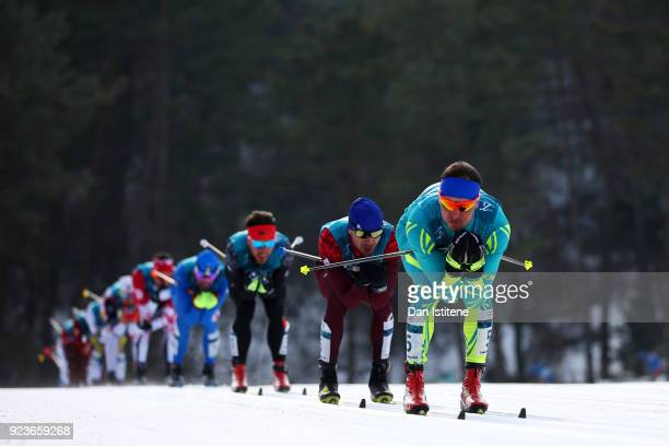 Alexey Poltoranin of Kazakhstan competes during the Men's 50km Mass Start Classic on day 15 of the PyeongChang 2018 Winter Olympic Games at Alpensia...