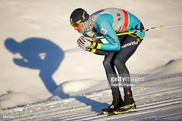 Alexey Poltoranin of Kazakhstan takes 2nd place during the FIS CrossCountry World Cup Men's 15km Classic on December 7 2013 in Lillehammer Norway