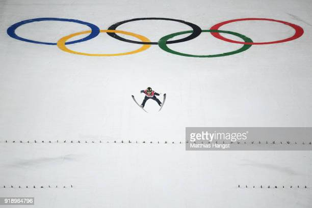Alexey Romashov of Olympic Athlete from Russia competes during the Ski Jumping Men's Large Hill Individual Qualification at Alpensia Ski Jumping...