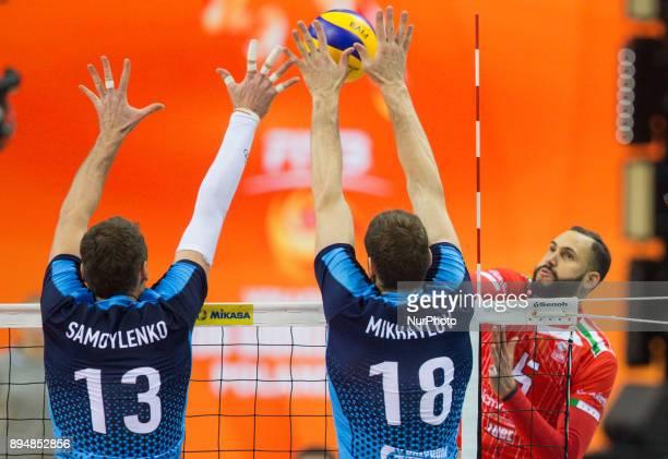 Alexey Samoylenko Maxim Mikhaylov Osmany Juantorena during FIVB Volleyball Men's Club World Championship 1st place match between italian Lube...