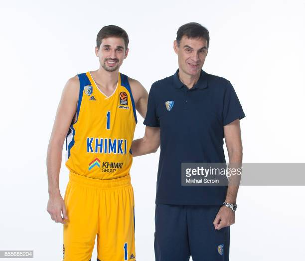 Alexey Shved #1 and Georgios Bartzokas Head Coach poses during Khimki Moscow Region 2017/2018 Turkish Airlines EuroLeague Media Day at Mytischi Arena...