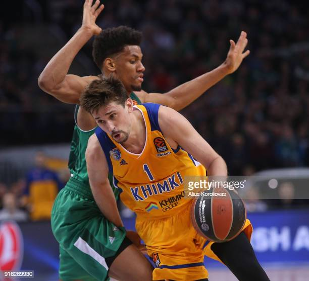 Alexey Shved #1 of Khimki Moscow Region competes with Axel Toupane #6 of Zalgiris Kaunas in action during the 2017/2018 Turkish Airlines EuroLeague...